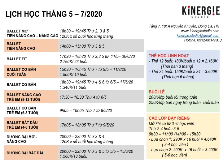 Kinergie Studio Lich hoc 5-7.20