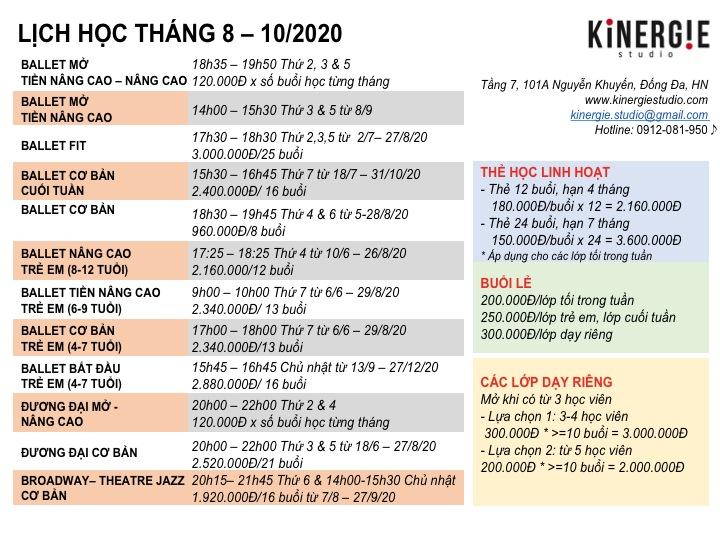 Kinergie Lich hoc T8-10.20