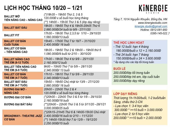 Kinergie Lich hoc 10.20-1.21